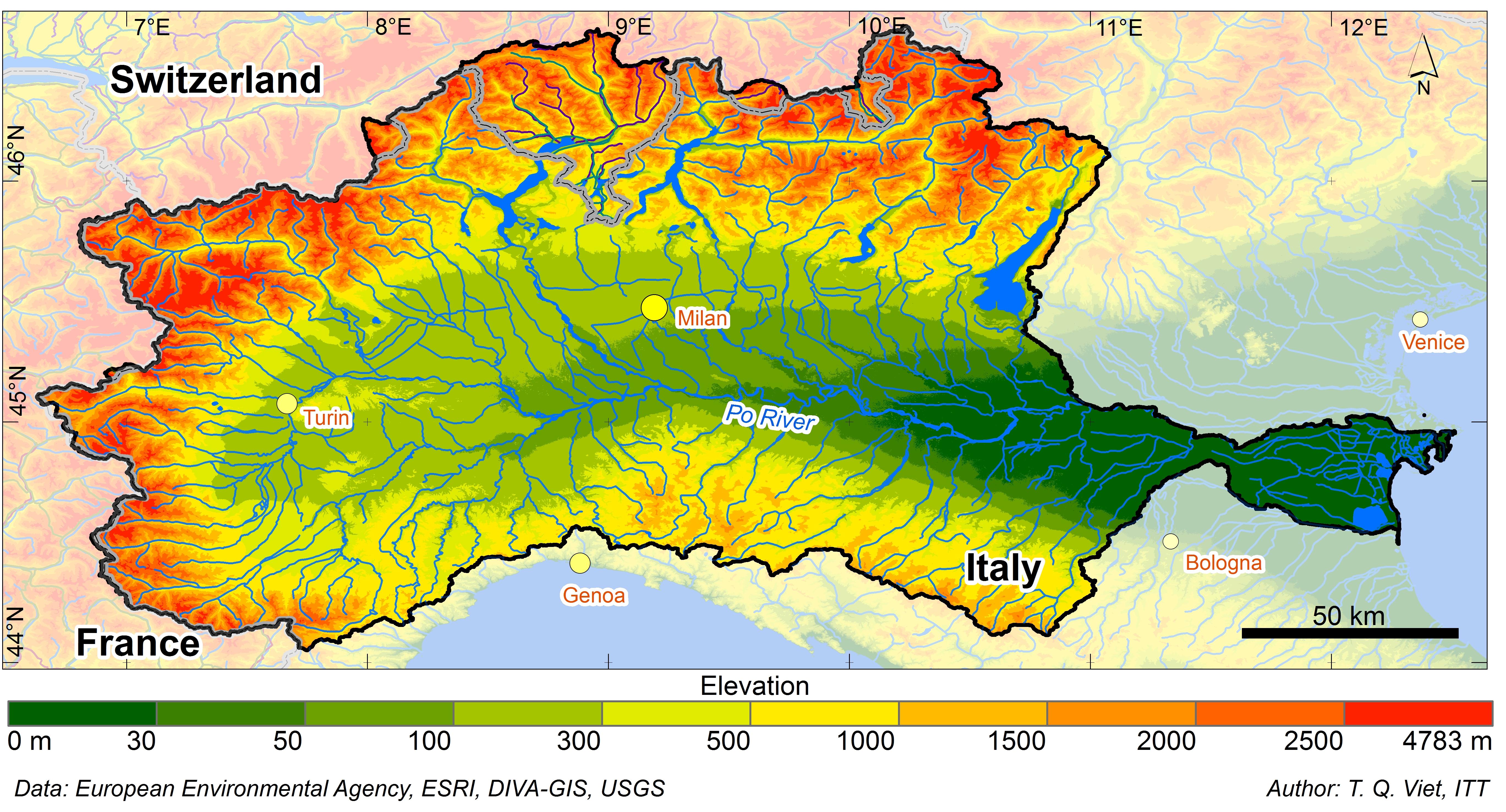 Po River Basin Italy BASIN INFO Web Based River Basin - Po river
